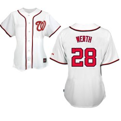 Women's Majestic Washington Nationals 28 Jayson Werth Replica White MLB Jersey