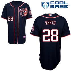 Youth Majestic Washington Nationals 28 Jayson Werth Authentic Navy Blue Alternate 2 Cool Base MLB Jersey