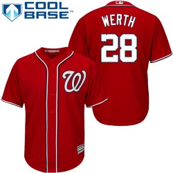 Youth Majestic Washington Nationals 28 Jayson Werth Authentic Red Alternate 1 Cool Base MLB Jersey